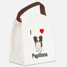 I Love Papillons (pic) Canvas Lunch Bag