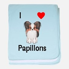 I Love Papillons (pic) baby blanket