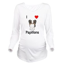I Love Papillons (pic) Long Sleeve Maternity T-Shi