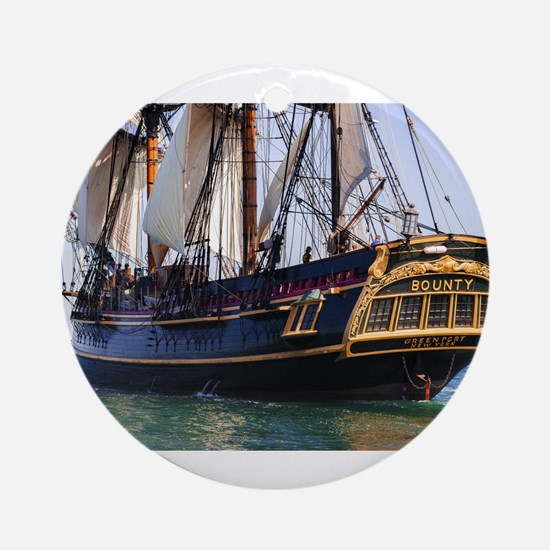 HMS Bounty Tall Ship Ornament (Round)