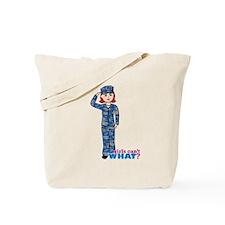 Navy Camo Light/Red Tote Bag