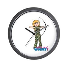 Archery Girl Camo Light/Blonde Wall Clock