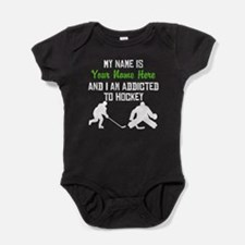 Addicted To Hockey (Custom) Baby Bodysuit