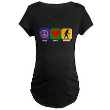 Peace Love Bigfoot Maternity T-Shirt
