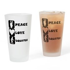 Peace Love Squatch Drinking Glass