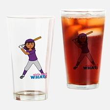 Girl Ball Player Dark Drinking Glass