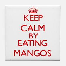 Keep calm by eating Mangos Tile Coaster
