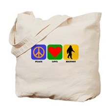 Peace Love Bigfoot Tote Bag