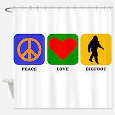 Peace Love Bigfoot Shower Curtain