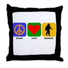 Peace Love Bigfoot Throw Pillow