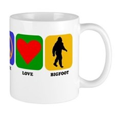 Peace Love Bigfoot Mugs