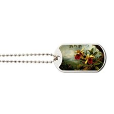 Orchids and Hummingbird, vintage painting Dog Tags