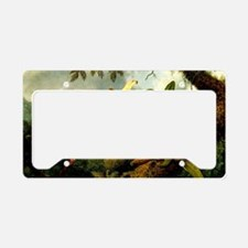 Orchids and Hummingbird, vint License Plate Holder