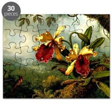 Orchids and Hummingbird, vintage painting Puzzle