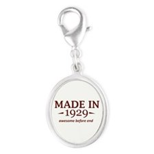 Made in 1929 Silver Oval Charm