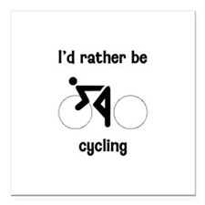 "I'd Rather Be Cycling Square Car Magnet 3"" x 3"""