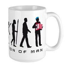 evolution of man accordion player Mugs
