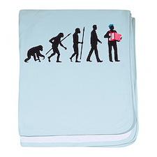 evolution of man accordion player baby blanket