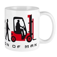evolution of man forklift driver Mugs