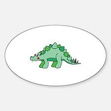 Cute Green Stegasaurus Dinosaur Oval Decal