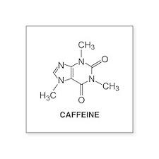 "Caffeine Molecule Square Sticker 3"" x 3"""