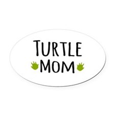 Turtle Mom Oval Car Magnet