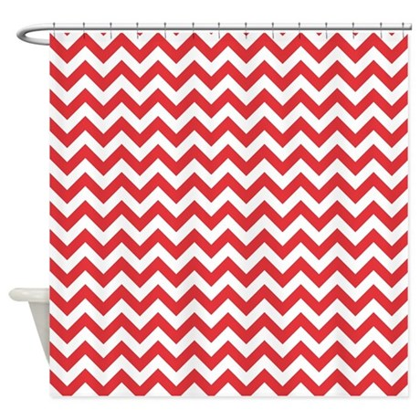 Poppy Red and White ZigZag Shower Curtain by