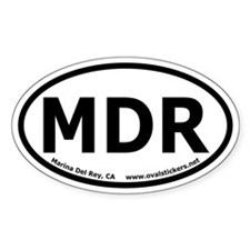 Marina Del Rey, California Oval Bumper Decal