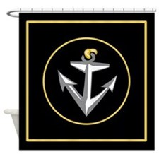 Stylish Black Anchor Shower Curtain