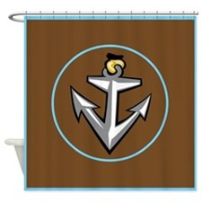 Stylish Brown Anchor Shower Curtain