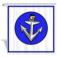 Stylish White And Blue Anchor Shower Curtain