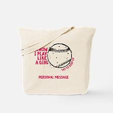 Personalized Softball Girl Tote Bag