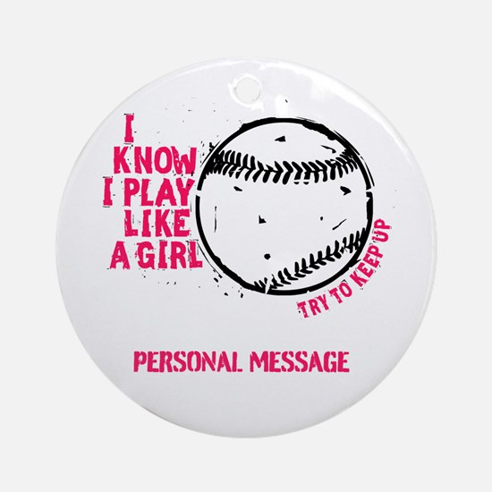Personalized Softball Girl Ornament (Round)