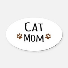 Cat Mom Oval Car Magnet