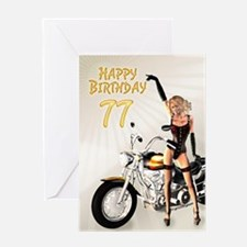 77th Birthday card with a motorbike girl Greeting