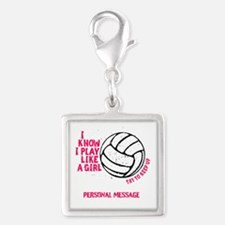 Personalized Volleyball Girl Silver Square Charm