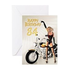 84th Birthday card with a motorbike girl Greeting