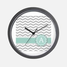 Letter A Mint Monogram Grey Chevron Wall Clock