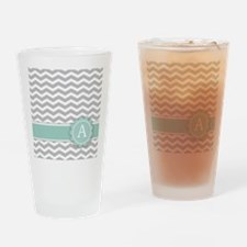 Letter A Mint Monogram Grey Chevron Drinking Glass
