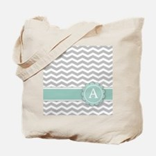 Letter A Mint Monogram Grey Chevron Tote Bag
