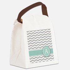 Letter A Mint Monogram Grey Chevron Canvas Lunch B