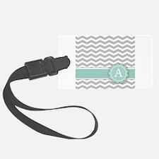 Letter A Mint Monogram Grey Chevron Luggage Tag