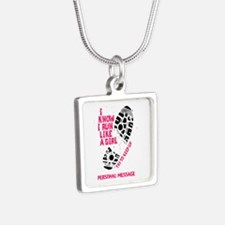 Personalized Runner Girl Silver Square Necklace