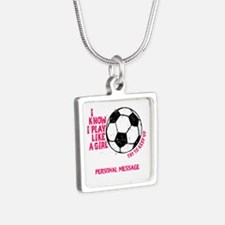 Personalized Soccer Girl Silver Square Necklace