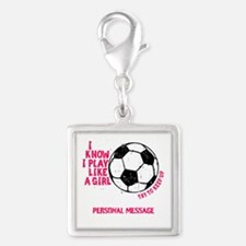 Personalized Soccer Girl Silver Square Charm
