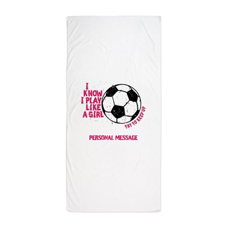 Personalized Soccer Girl Beach Towel