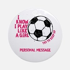 Personalized Soccer Girl Ornament (Round)