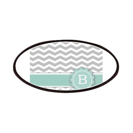 Letter B Mint Monogram Grey Chevron Patches