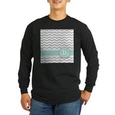 Letter B Mint Monogram Grey Chevron Long Sleeve T-