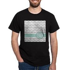 Letter B Mint Monogram Grey Chevron T-Shirt